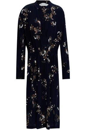 VINCE. Gathered floral-print silk midi dress