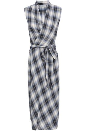 VINCE. Checked cotton-blend flannel wrap dress