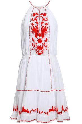 JOIE Embroidered cotton-gauze mini dress