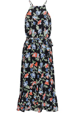 JOIE Fluted floral-print silk crepe de chine midi dress