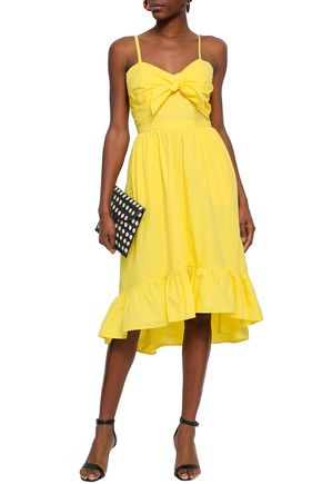 JOIE Knotted cutout cotton-poplin midi dress