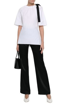 ROSETTA GETTY Bow-detailed cotton-poplin top