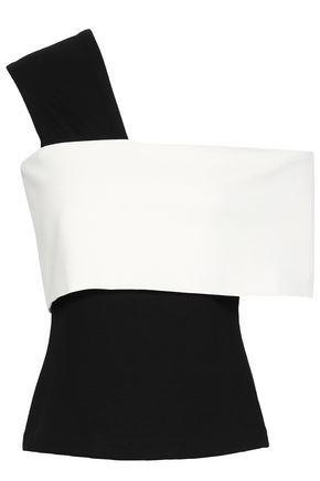 ROSETTA GETTY One-shoulder two-tone stretch-knit top