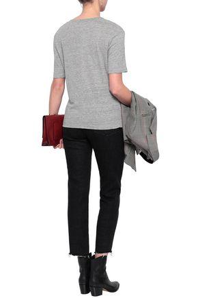 FRAME Mélange linen-jersey T-shirt