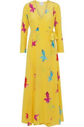 WE ARE LEONE Printed silk crepe de chine midi wrap dress