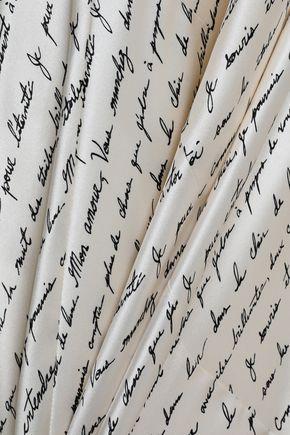 CINQ À SEPT Ella draped printed silk-satin gown