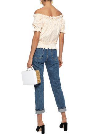 CAROLINE CONSTAS Peasant off-the-shoulder embellished striped cotton-poplin blouse