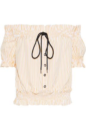 CAROLINE CONSTAS Peasant off-the-shoulder embellished striped cotton-poplin blouse