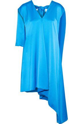 MSGM Asymmetric layered satin-crepe dress