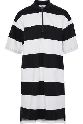 MSGM Striped cotton-piqué mini dress