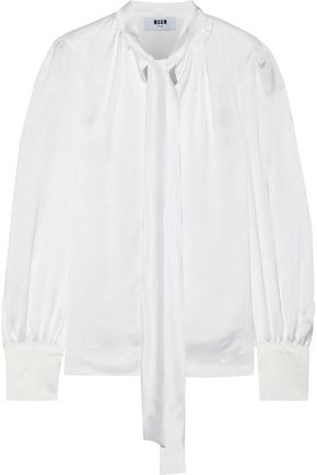 MSGM Pussy-bow satin-twill blouse