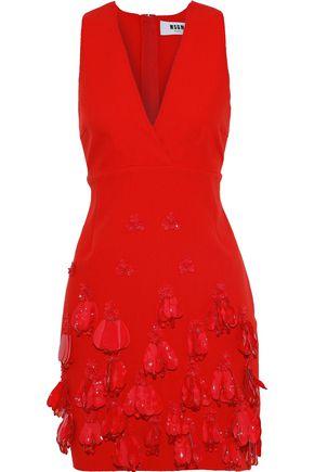 MSGM Wrap-effect embellished crepe mini dress