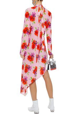 MSGM Asymmetric floral-print silk midi dress