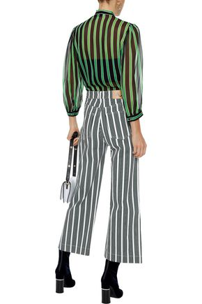 MSGM Pussy-bow striped silk-chiffon blouse