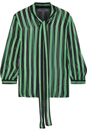 MSGM Pussy-bow striped silk-chiffon blouse