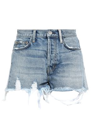 CURRENT/ELLIOTT Distressed denim shorts