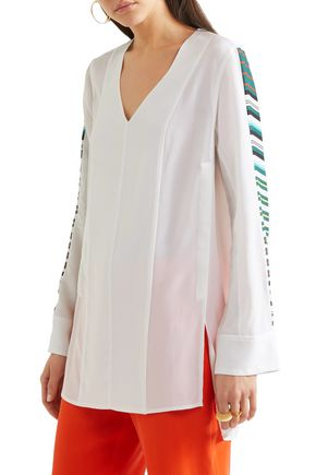 EQUIPMENT Norma striped washed-silk tunic