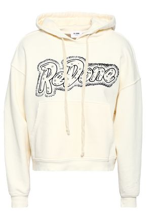 RE/DONE Studded printed French cotton-terry hooded sweatshirt