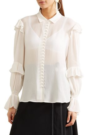 FRAME Ruffle-trimmed silk-georgette blouse