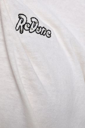 RE/DONE Embroidered slub stretch-cotton jersey T-shirt