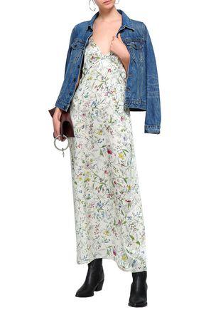 R13 Floral-print silk-satin maxi dress