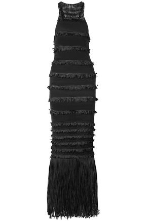 ELEVEN SIX Fringe-trimmed crocheted-paneled cotton-blend gown