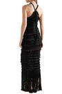 ELEVEN SIX Rebecca crocheted cotton-blend fringed tiered gown
