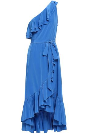 JOIE Damica one-shoulder washed-silk midi wrap dress