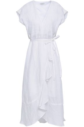 JOIE Cutout ruffled linen-gauze wrap dress