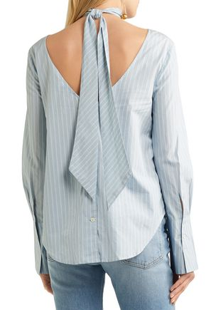 FRAME Tie-neck striped cotton-poplin blouse