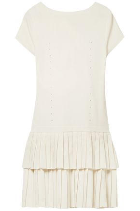 VICTOR GLEMAUD Tiered pleated stretch-cotton mini dress