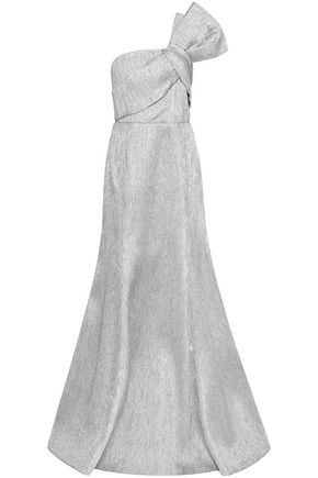 SAFIYAA One-shoulder bow-embellished lamé gown