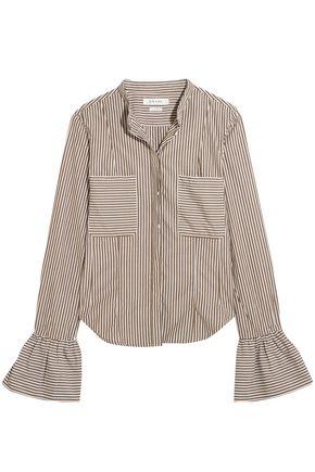 FRAME Fluted striped cotton-poplin shirt