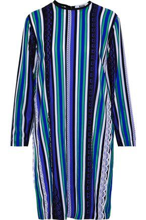 MSGM Lace-trimmed striped silk mini dress