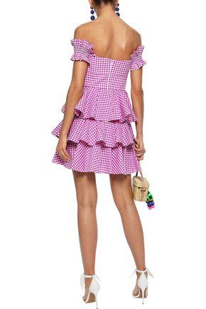CAROLINE CONSTAS Helena off-the-shoulder tiered gingham cotton-poplin mini dress