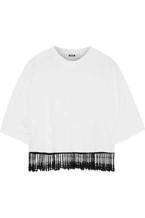 MSGM Cropped bead-embellished cotton-jersey T-shirt