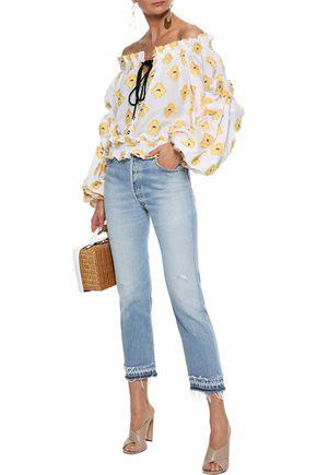 CAROLINE CONSTAS Lorena off-the-shoulder embellished fil coupé cotton-blend blouse