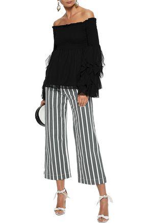 ade5ccb940073 CAROLINE CONSTAS Alessandra off-the-shoulder shirred silk-chiffon blouse