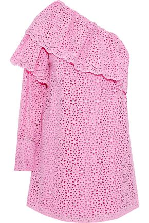 MSGM One-shoulder ruffled broderie anglaise cotton mini dress