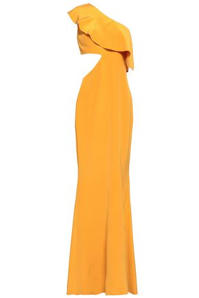 CUSHNIE One-shoulder cutout silk crepe de chine gown