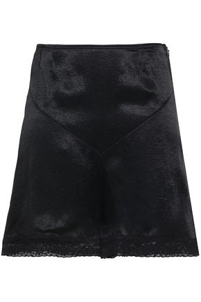 Mcq Alexander Mcqueen Woman Lace-trimmed Charmeuse Shorts Black Size 42