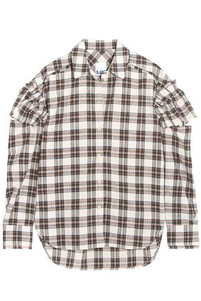 SJYP Ruffled checked woven shirt