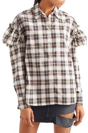 SJYP Ruffled checked woven shirt