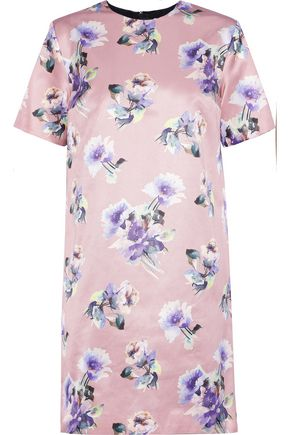 MSGM Floral-print cotton and silk-blend satin mini dress