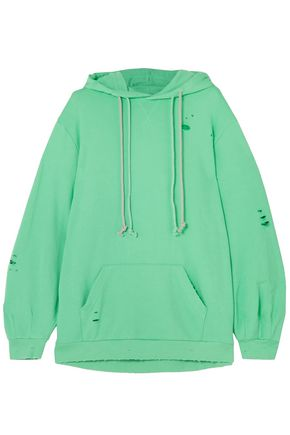 SJYP Distressed French-terry hooded sweatshirt