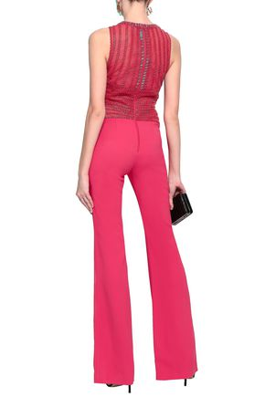 ZUHAIR MURAD Embellished silk-blend tulle and cady jumpsuit