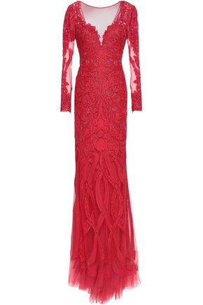 ZUHAIR MURAD Embellished silk-blend tulle gown