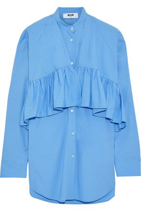 MSGM Ruffled cotton-blend poplin shirt