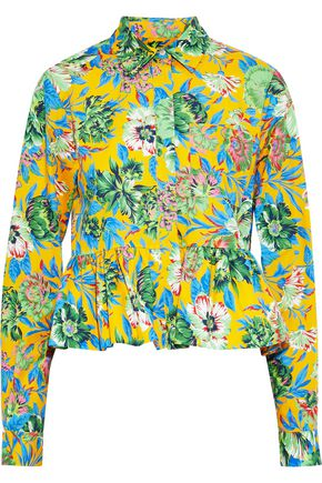 MSGM Ruffled floral-print cotton-poplin shirt