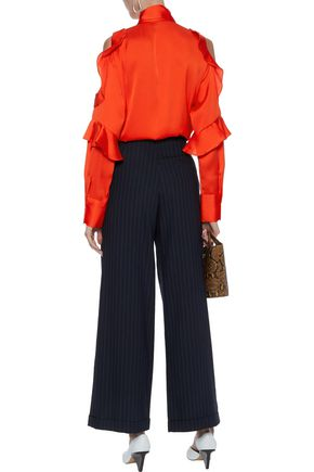 BY MALENE BIRGER Pallerno cold-shoulder ruffled satin blouse
